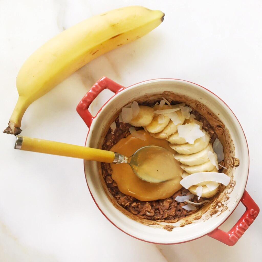 Cacao, Banana & PB Baked Oats