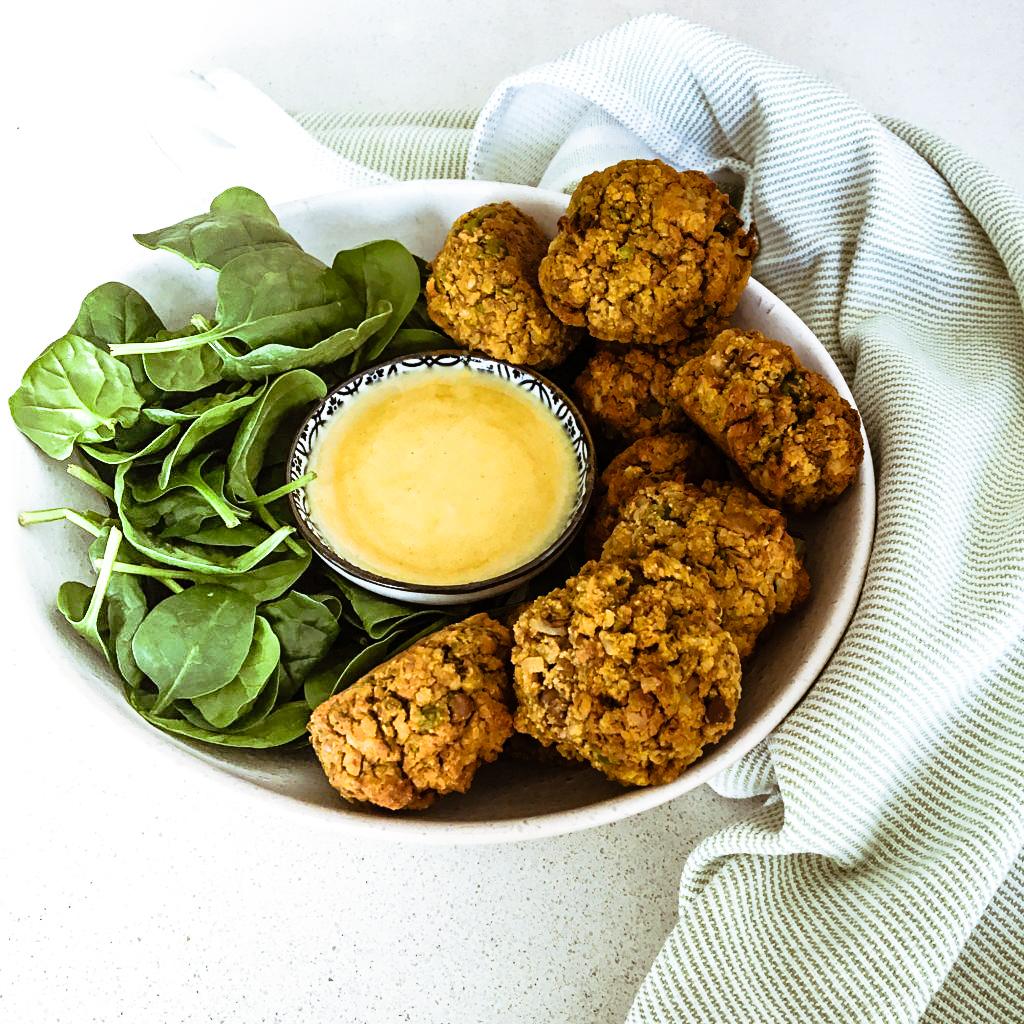 Baked Sweet Potato, Lentil & Tofu Balls w Tahini Dip
